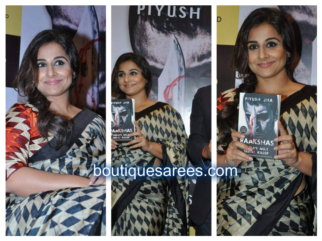 vidya balan in checks sari blouse