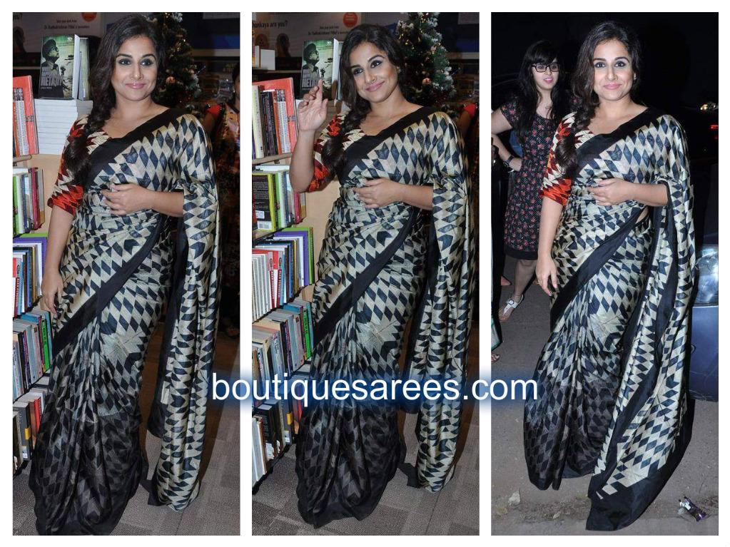 vidya balan in checks sari