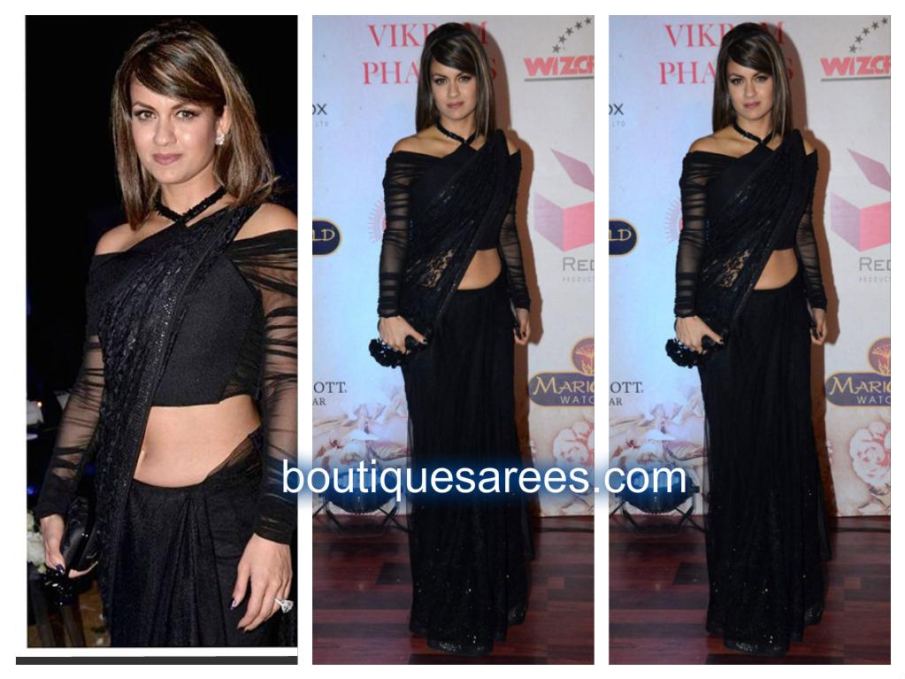 natasha in black saree