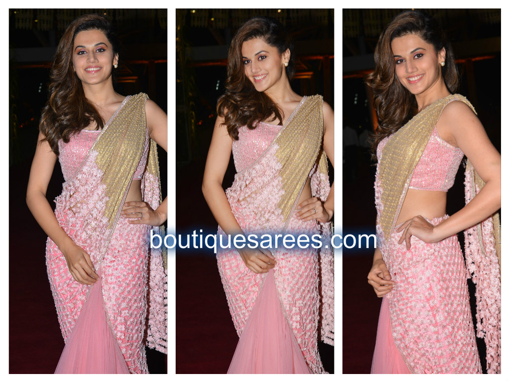 taapsee in pink saree