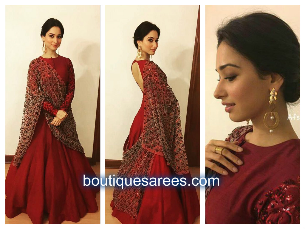 tamanna in red anarkali