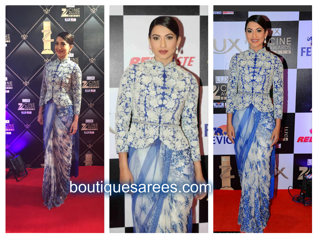gauhar khan in embroidery sari