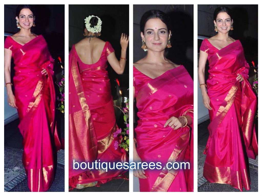 kangana in pink silk saree