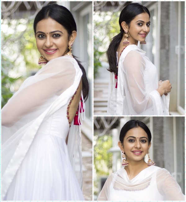 rakul in white suit