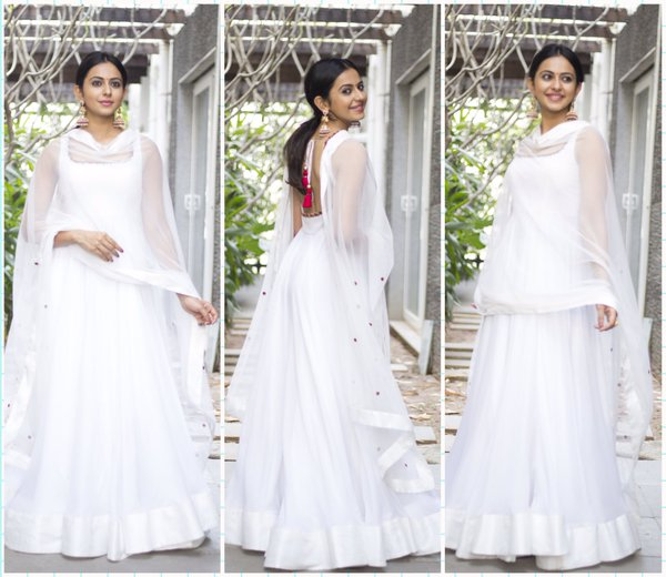 rakul preet singh in white anarkali