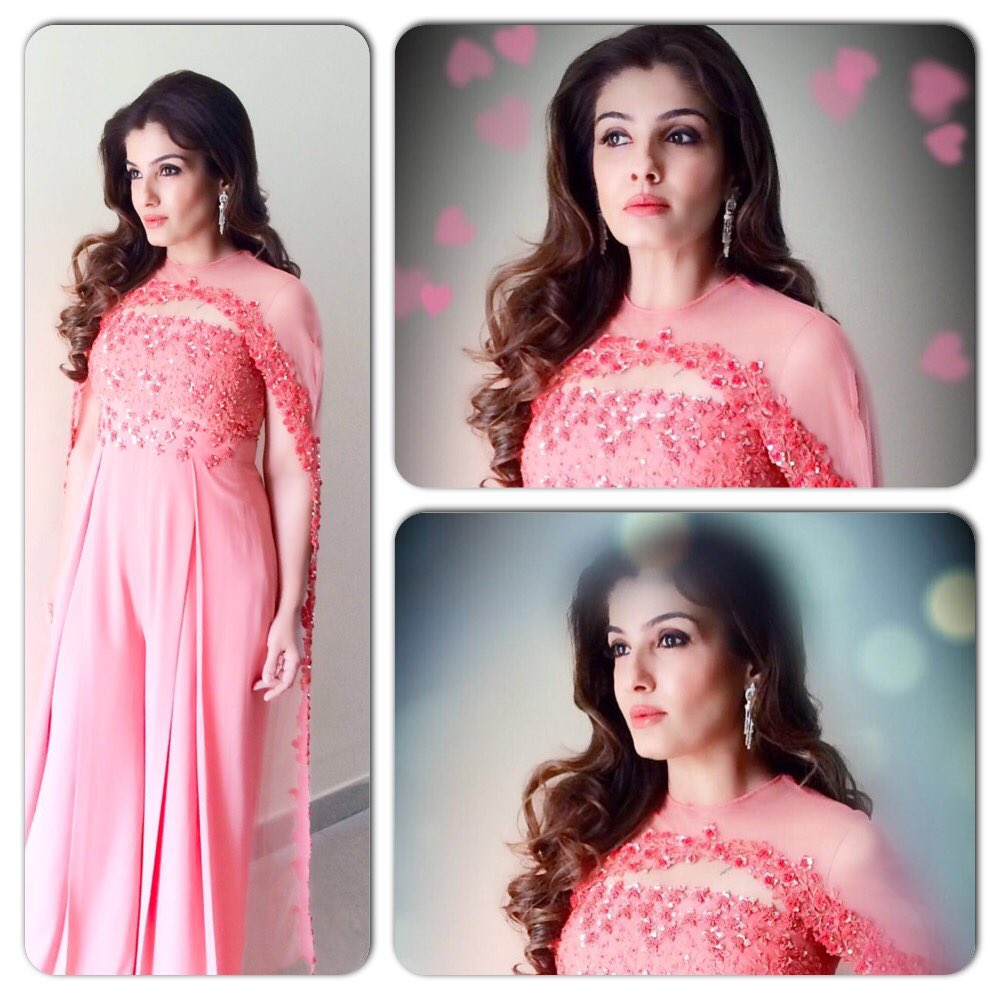 raveena in pink suit