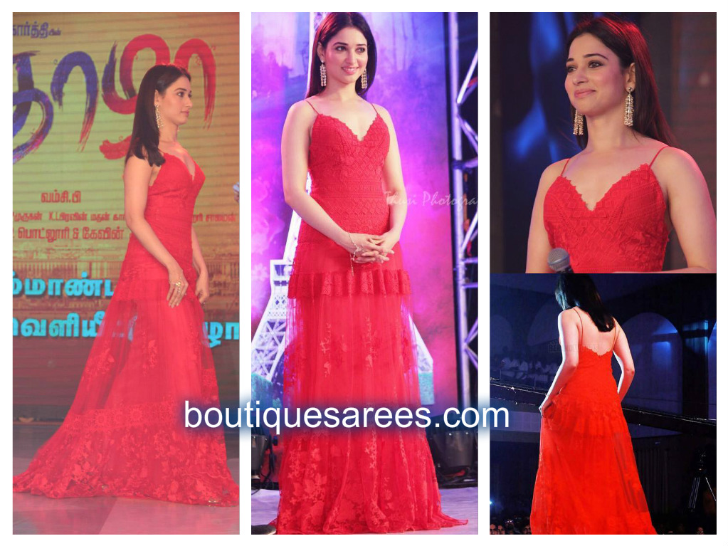 tamanna in red dress suit