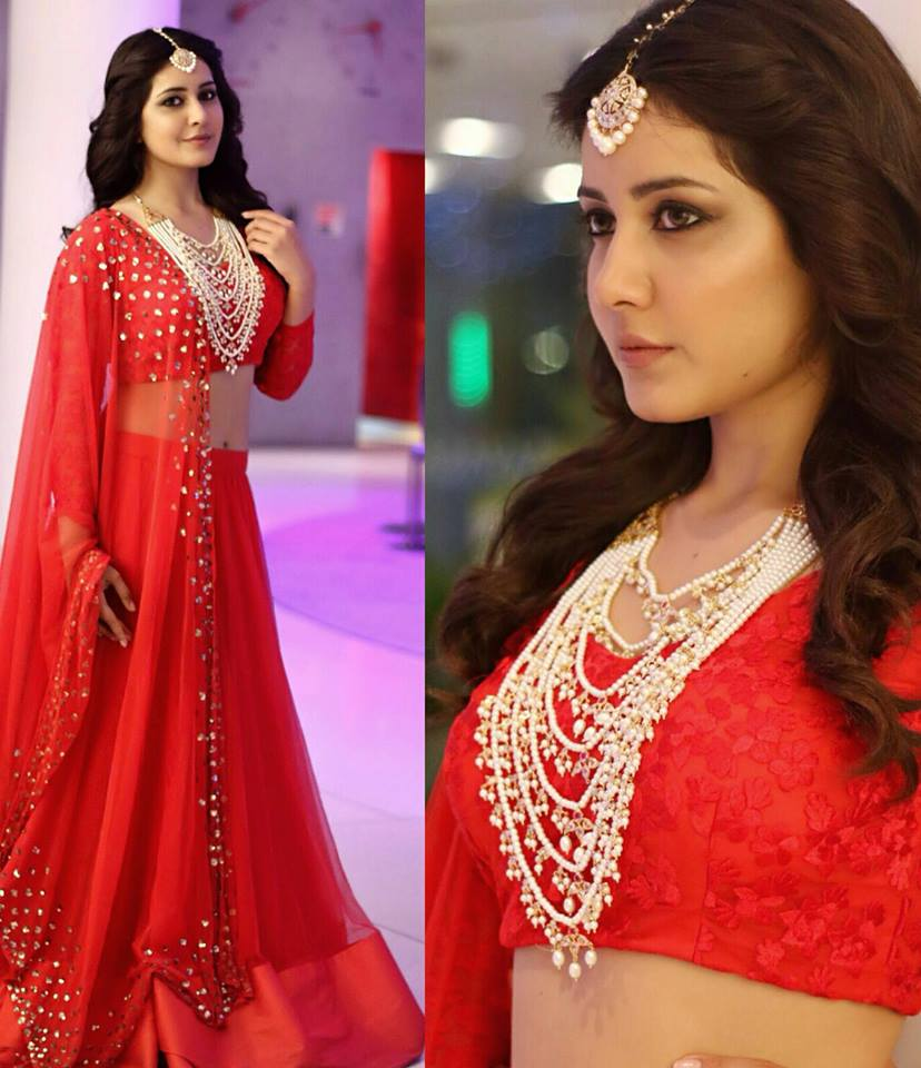 Raashi Khanna in red lehenga choli