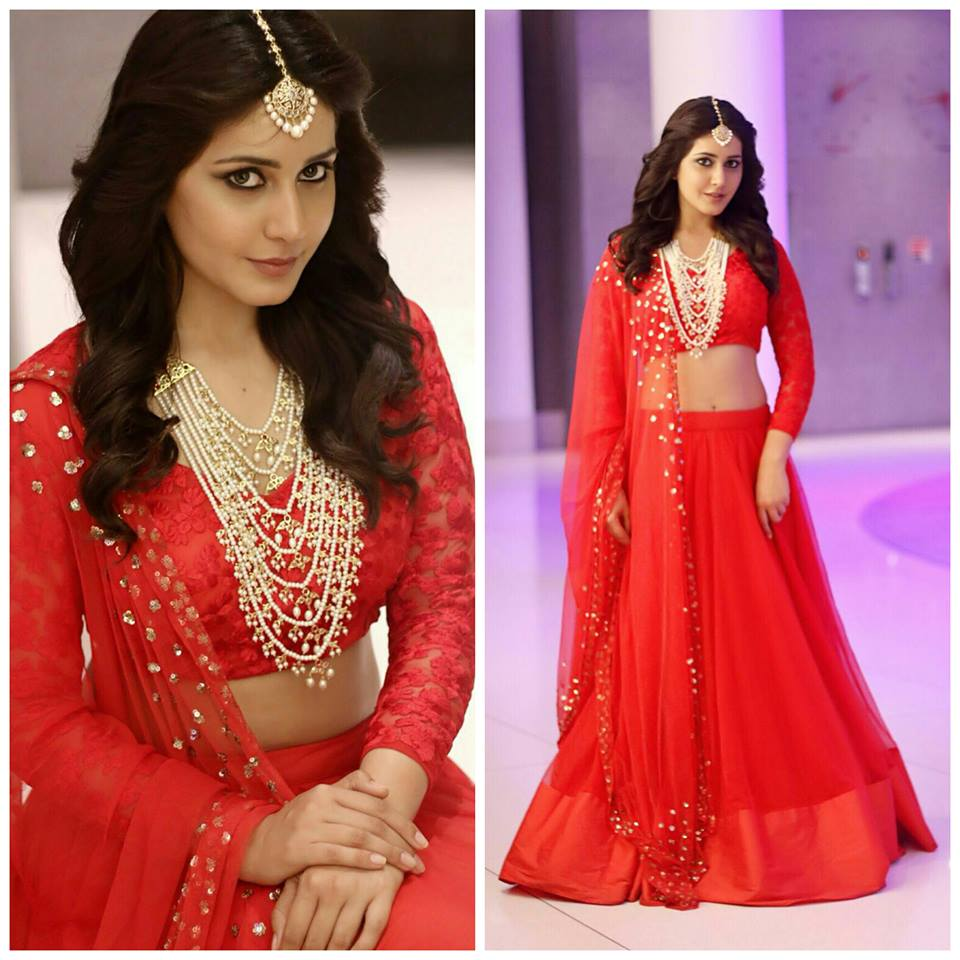 Raashi Khanna in red lehenga