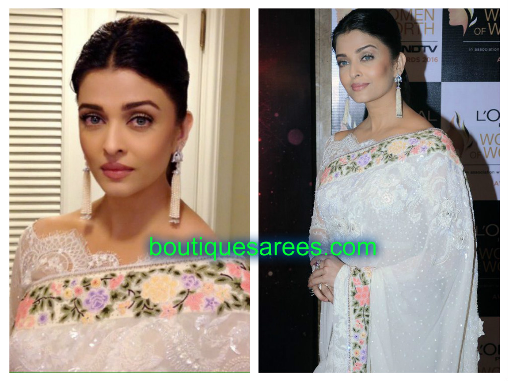 aish in white saree