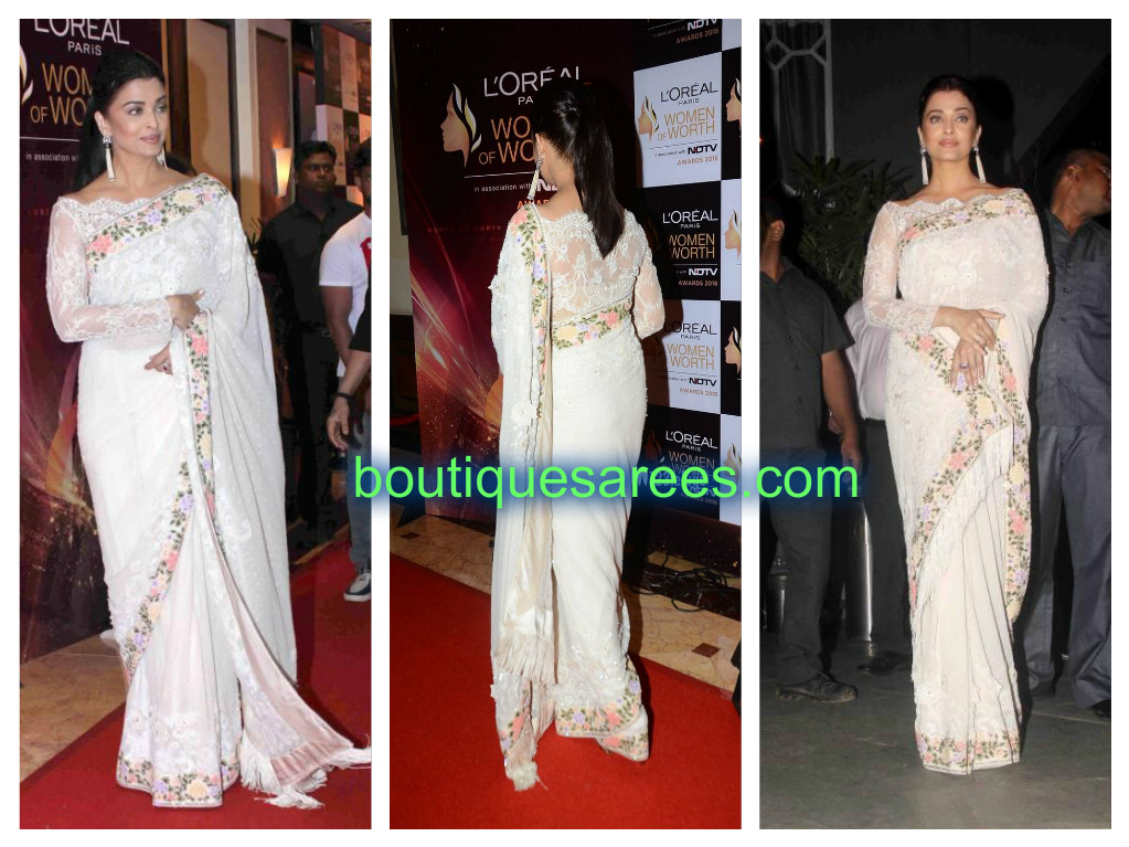 aish in white sari