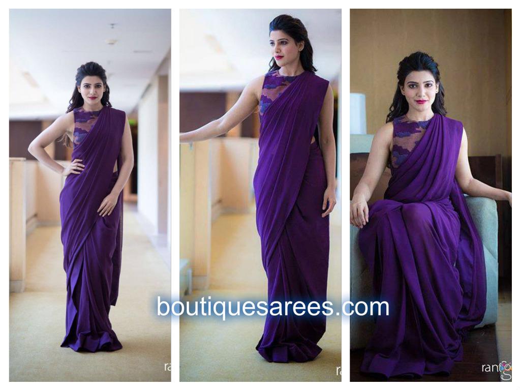 samanth in purple saree
