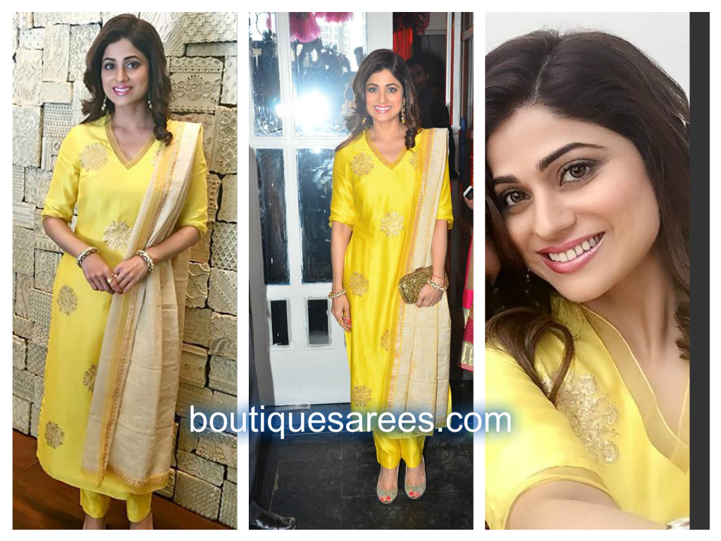 shamita shetty in yellow salwar kameez