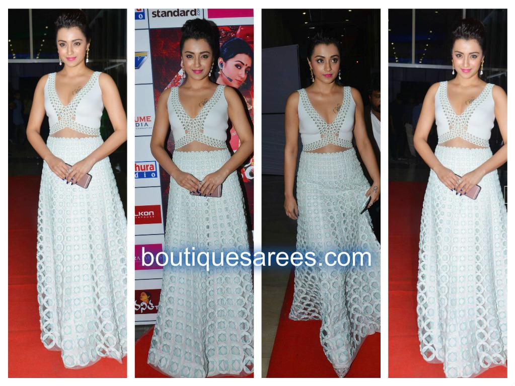trisha in white dress