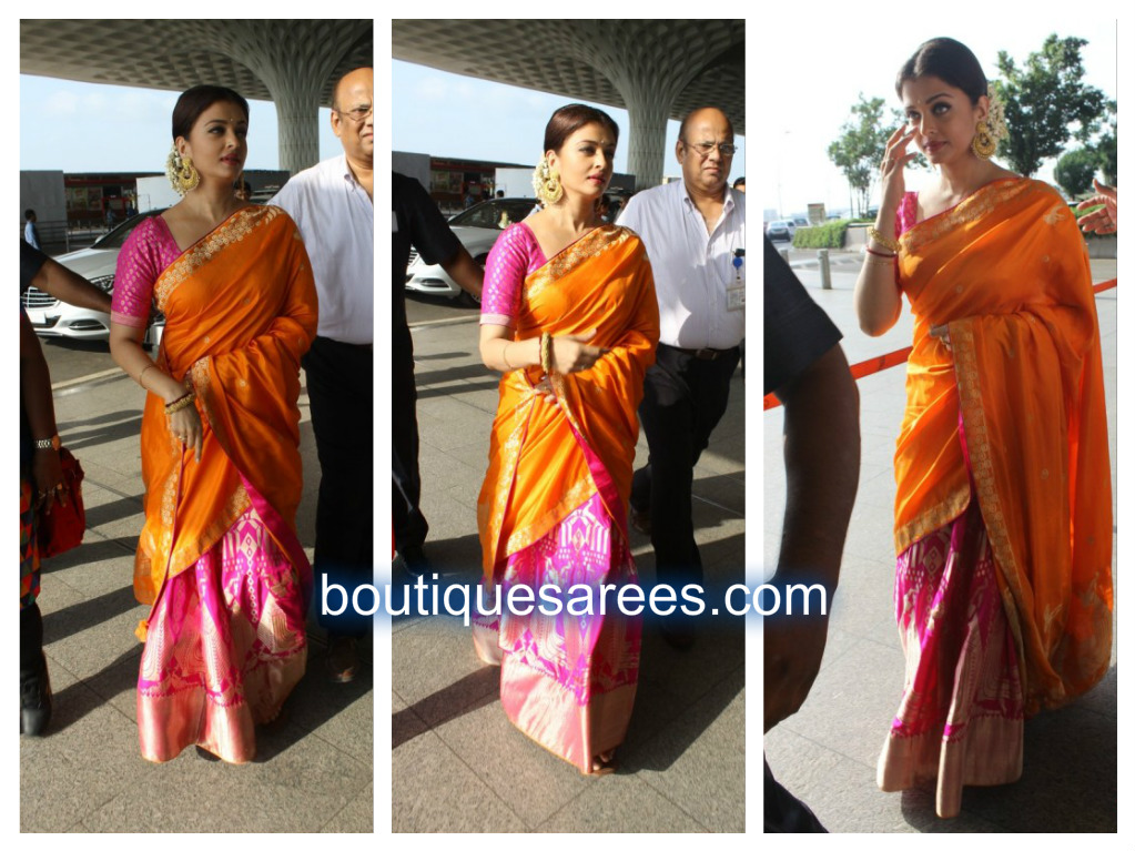 aish in silk saree ekaya
