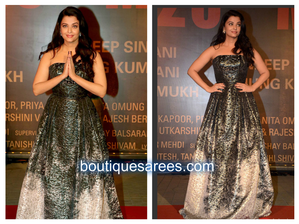 aish in strapless dress