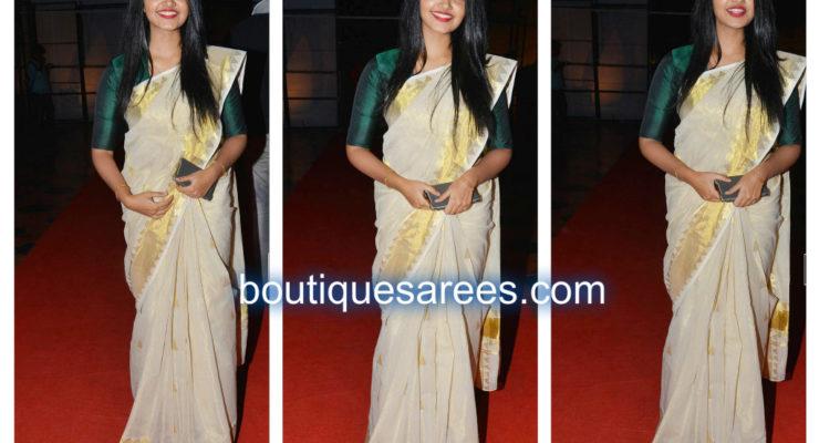 Anupama Parameswaran In Saree at A Aa Audio Launch