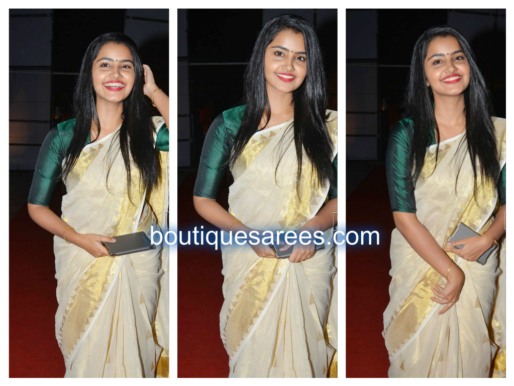 anupama in white silk saree