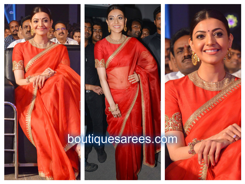 kajal in red sari