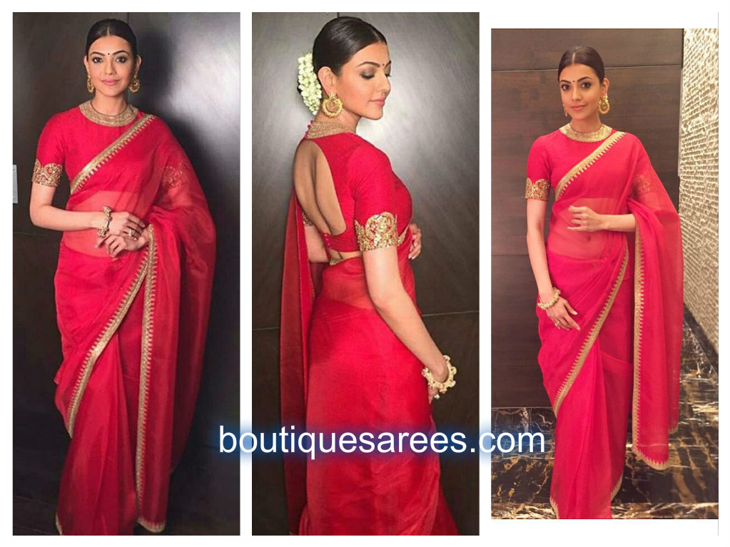 kajal in red work saree