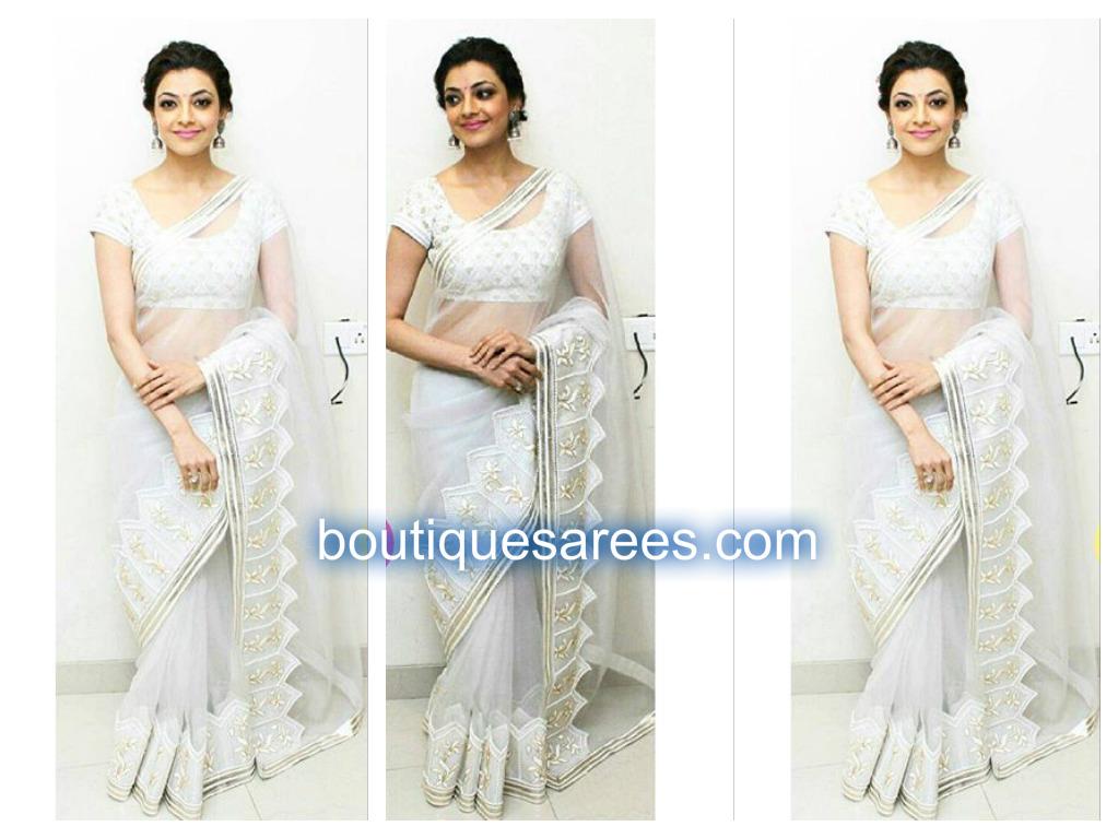 kajal in white saree
