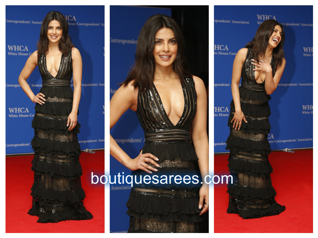 priyanka in black gown