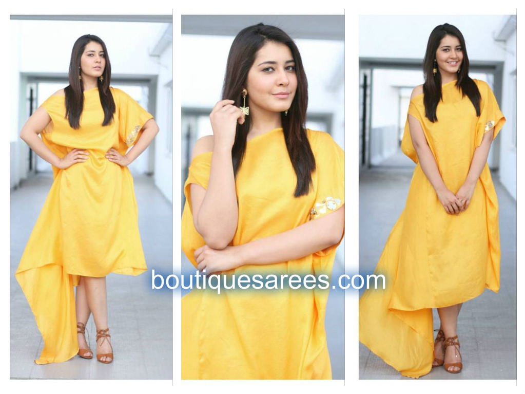 raashi in yellow dress