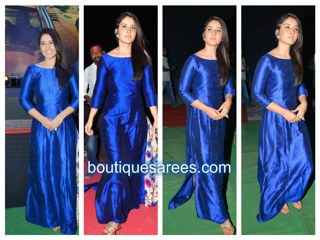 raashi khann in blue long gown
