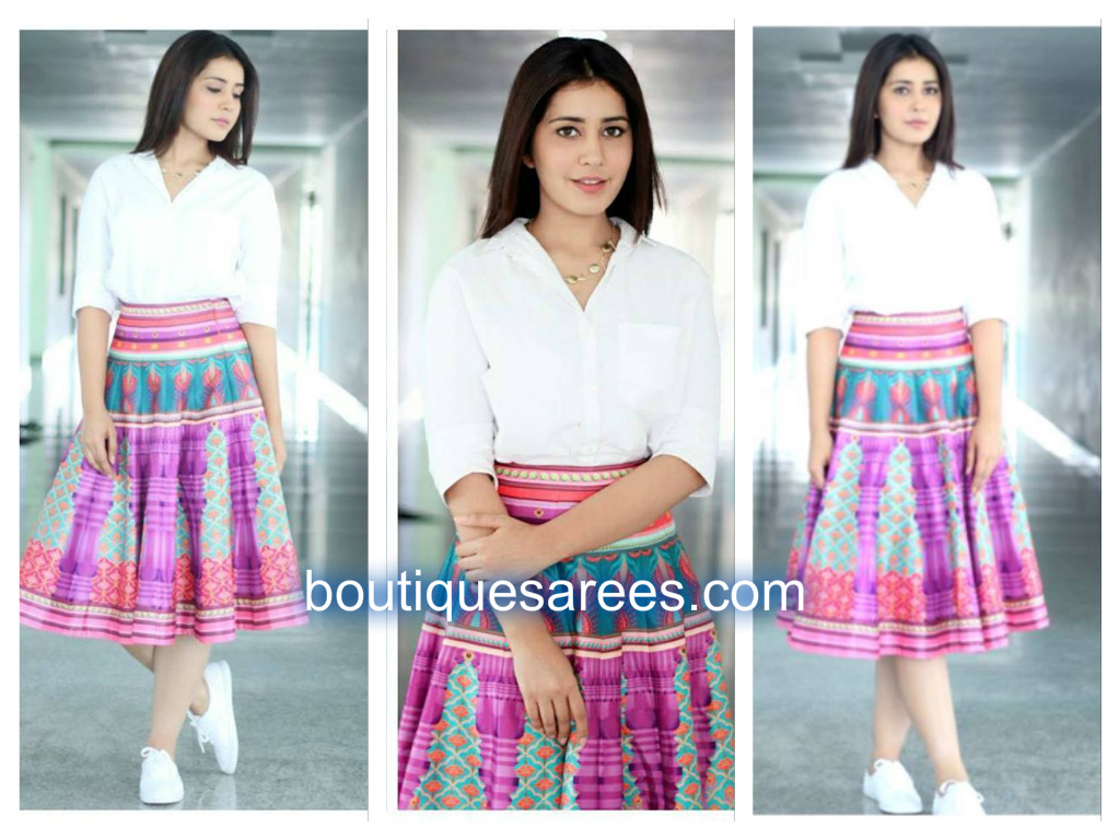 raashi khanna in printed skirt