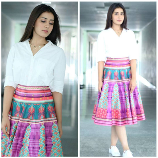 raashi khanna in printed skirts