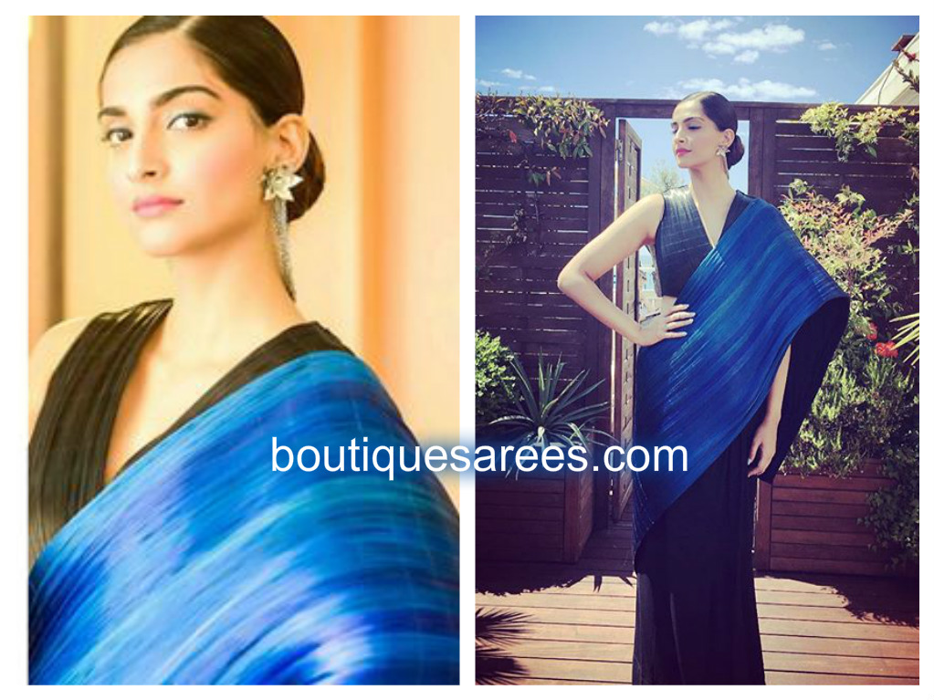 sona in blue saree