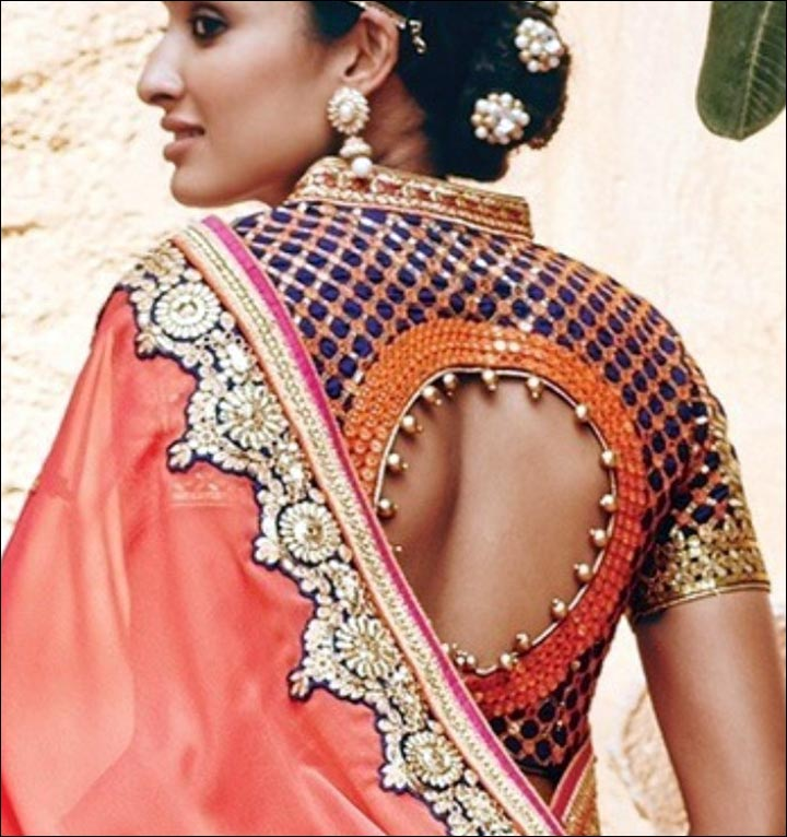 Blue-High-Neck-With-Designer-blouse-Back-designs