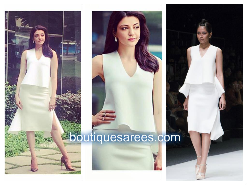 kajal in white skirt
