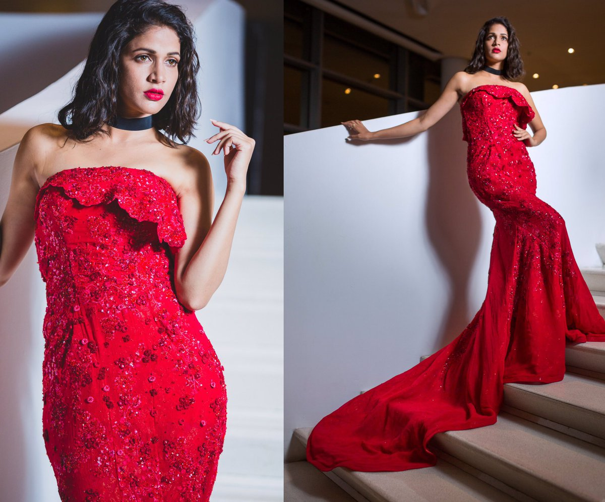 lavanya tripathi red gown long
