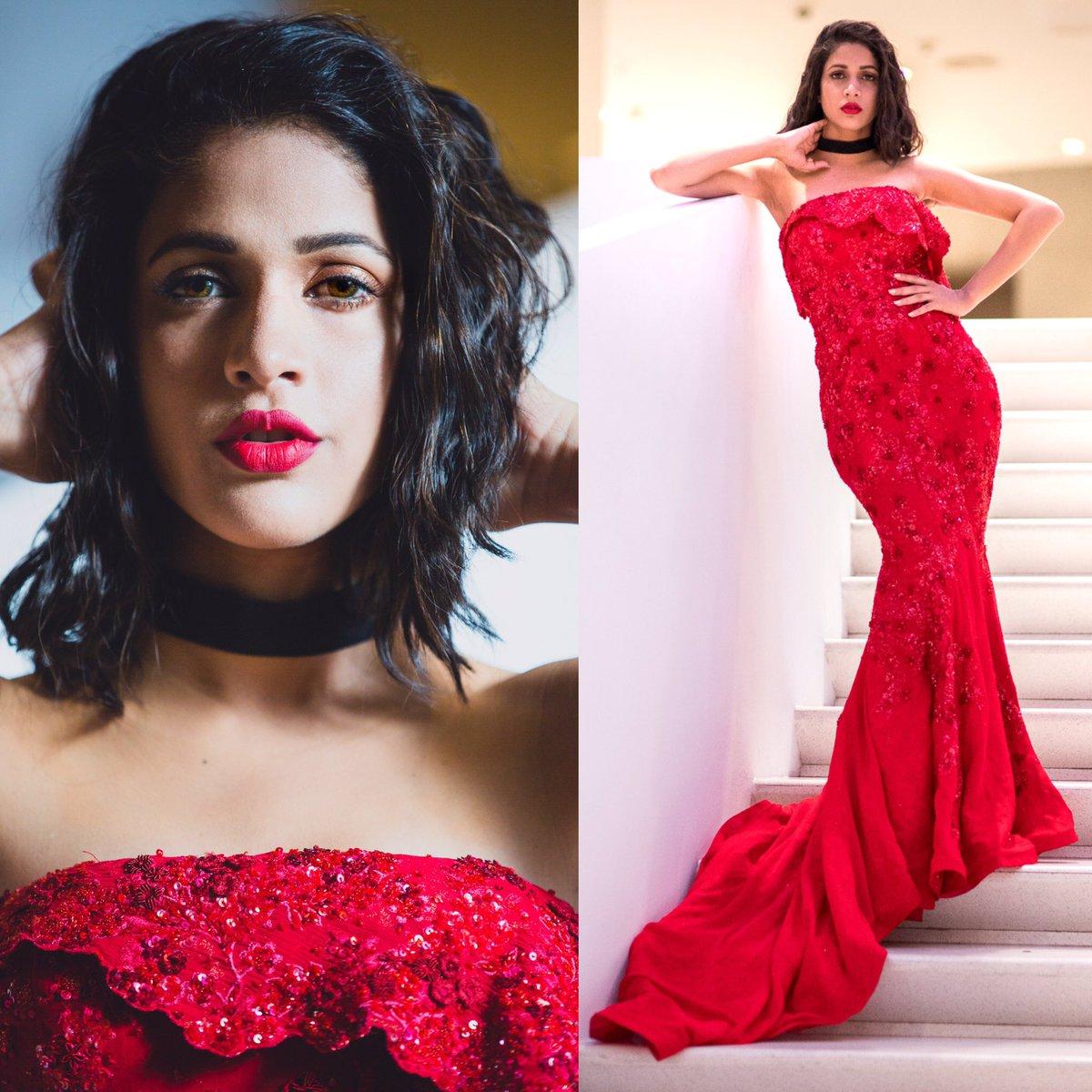 lavanya tripathi red gown