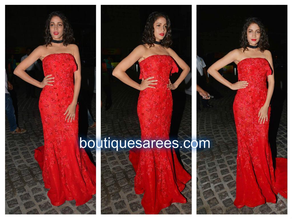 lavanya tripathi red long dress
