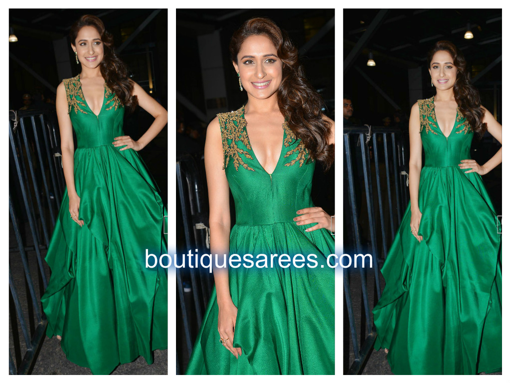 pragya in green long gown