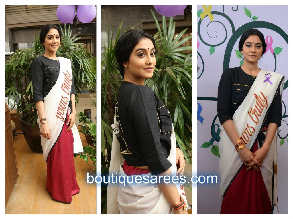 regina in half and half sari