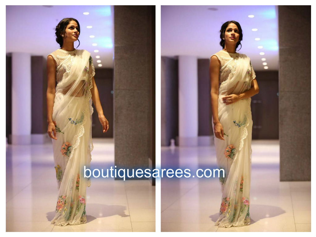 lavanya tripathi in white sari