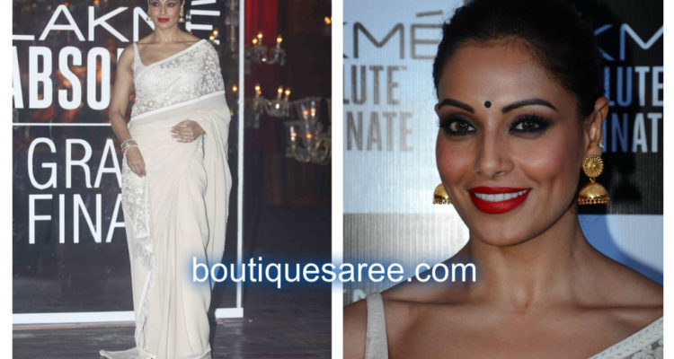bipasa in sabyasachi white saree