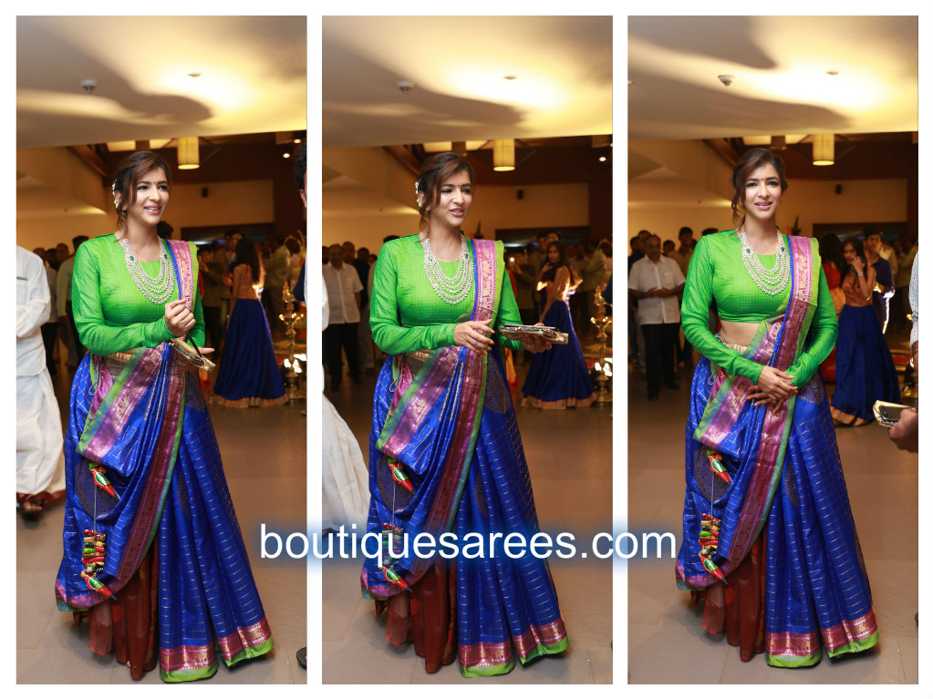 lakshmi manchu in blue silk saree