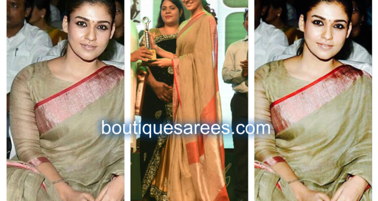 nayanatara in linen saree