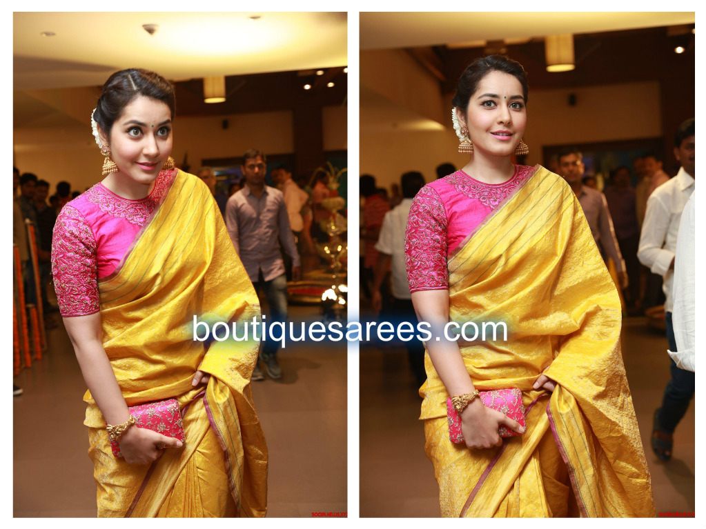 raashi khann in yellow silk saree
