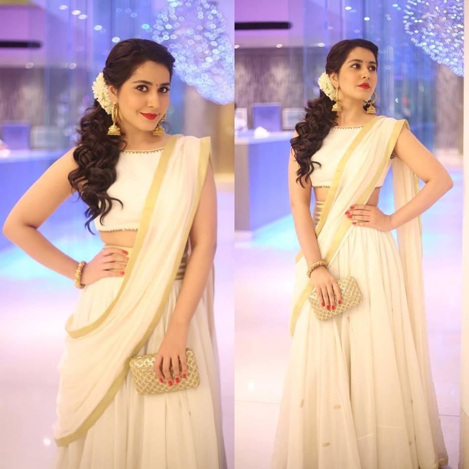 raashi khanna in white half saree