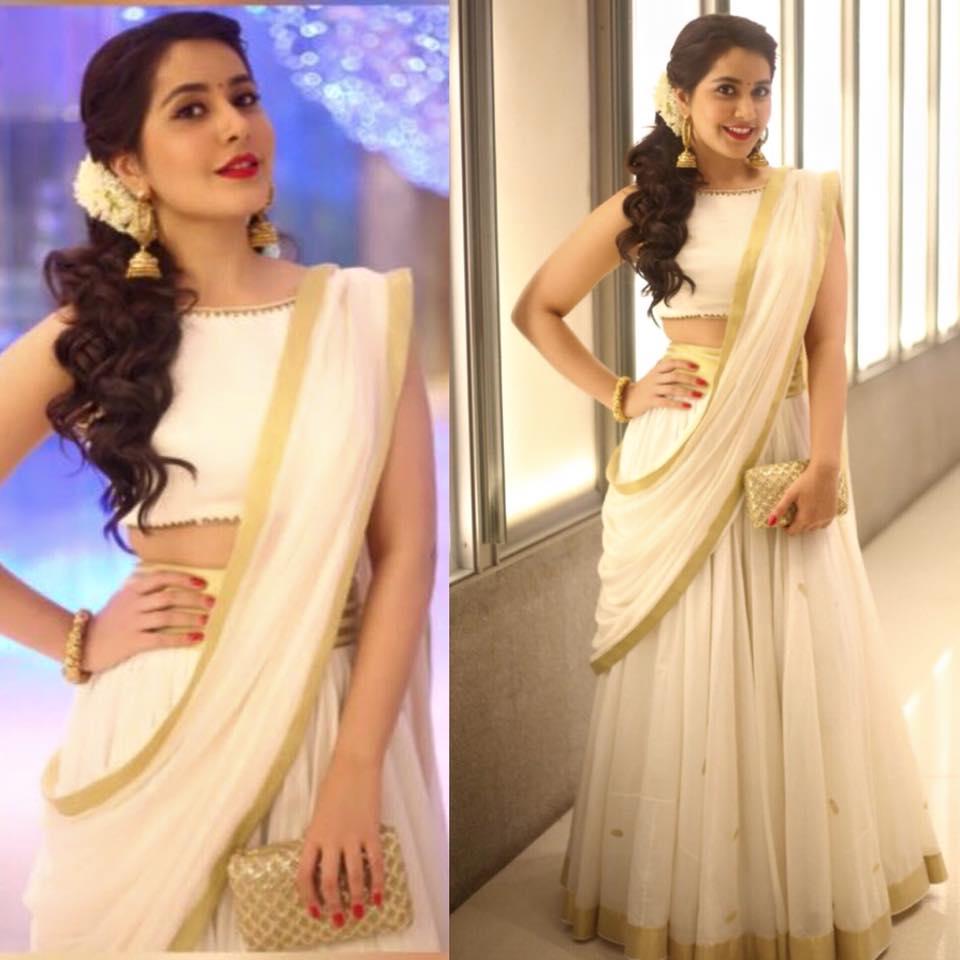 raashi khanna in white half sari