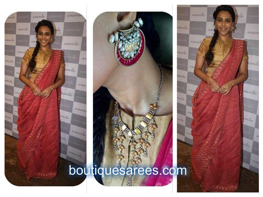 swara bhaskar in anavila saree