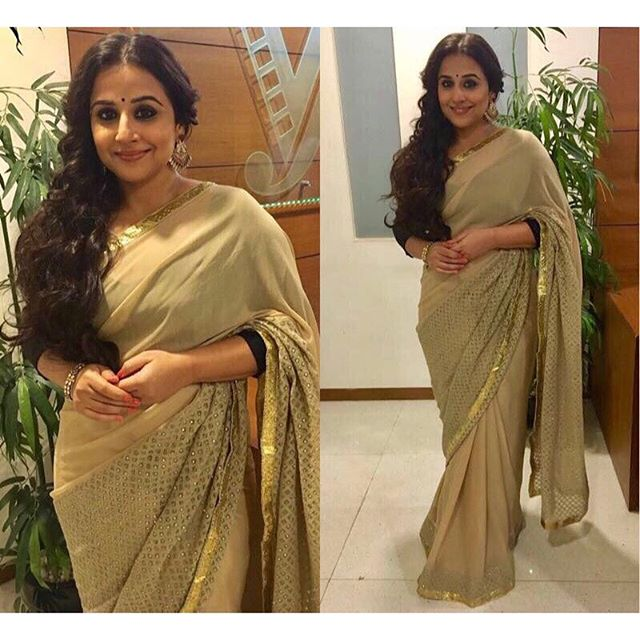 67eed67db4bebe Vidya balan attend begumjaan promotional event in a rick roy saree teamed  with contrast black quarter sleeves blouse,#vidyabalan.