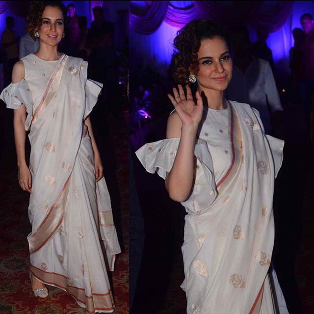 65176f2a06 For a recent wedding kangana ranaut was seen in a swati and sunaina hand  woven saree,teamed with cold shoulder blouse,she looked elegant.