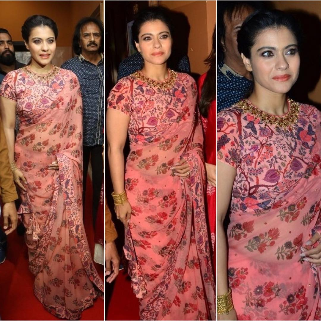 7ddf54cc9c For VIP 2 promotional event kajol devgan appearance in a floral saree from  nikasha couture,teamed with a floral short sleeves blouse.