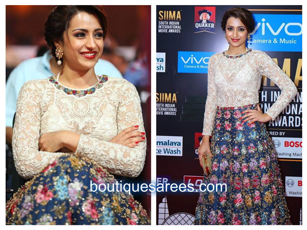 abb4eada07 Trisha smashing appearance in a heavy embroidery skirt with white lace  embroidery top by varun bahl at siima awards 2017